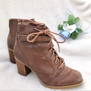 Naturalizer Brown Ankle Bootie Lace-Up Heel 7.5
